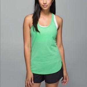 Lululemon What the Sport Singlet Top Green Stripe
